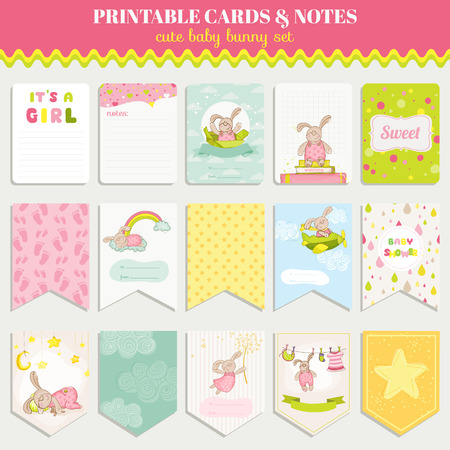 baby shower party: Baby Bunny Card Set - for birthday, baby shower, party, design - in vector