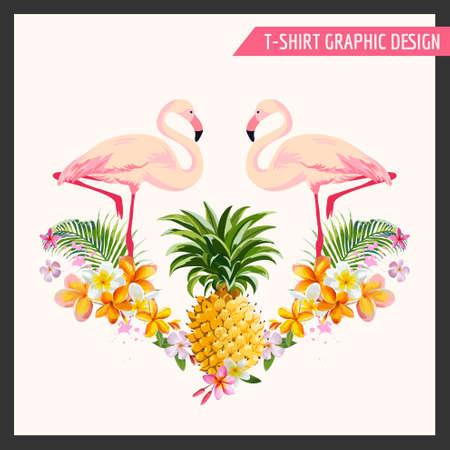 Тропические цветы и Фламинго Графический дизайн - для футболке, моды, отпечатков - в векторе
