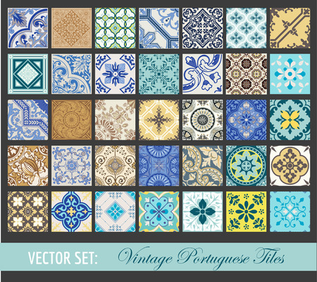 wall paper: Seamless Vintage Tiles Background Collection - Portuguese Tiles - in vector Illustration