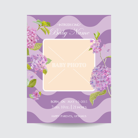 baby boy announcement: Baby Arrival Card with Photo Frame - Blossom Flowers Theme