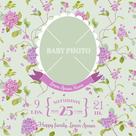 baby boy announcement: Baby Arrival Card - with Photo Frame and Floral Blossom Design