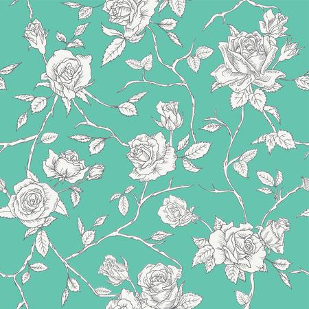etched: Floral Roses Background - Seamless Vintage Pattern  Illustration