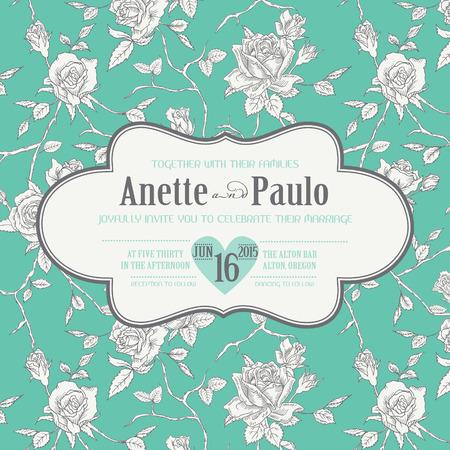 rose: Vintage Wedding Floral Card - Save the Date, Invitation, Baby Shower