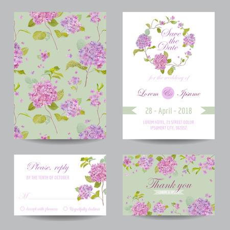 招待状や結婚式、ベビー シャワーのためのグリーティング カード セット  イラスト・ベクター素材