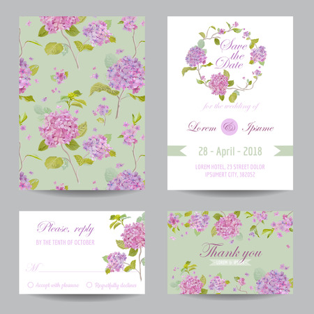 Invitation or Greeting Card Set - for Wedding, Baby Shower Ilustracja