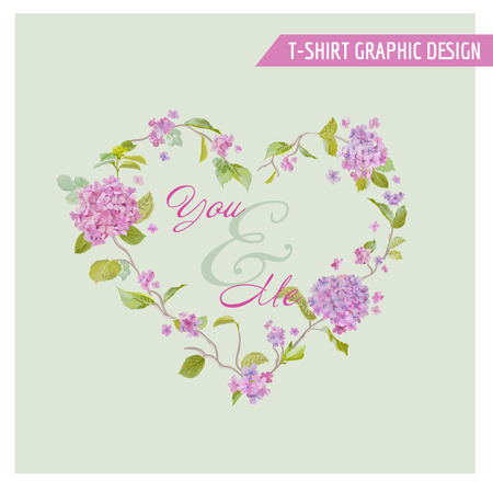 for design: Floral Heart Graphic Design - for t-shirt, fashion, prints