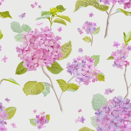 Vintage Bloemen Lilac Achtergrond - naadloos patroon voor ontwerp, druk, plakboek