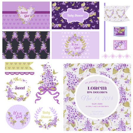 ragazza innamorata: Elementi di design scrapbook - Baby Shower Flower Theme