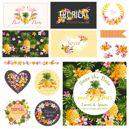 baby girl arrival: Baby Shower Tropical Theme - Scrapbook Design Elements, Backgrounds