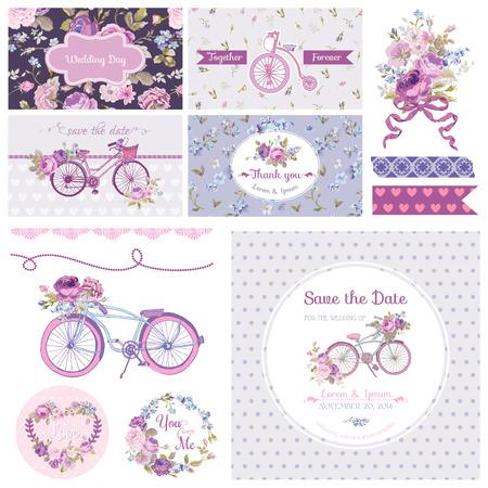 bicicleta: �lbum de recortes elementos de dise�o - Wedding Party Flores y bicicletas Tem�tica