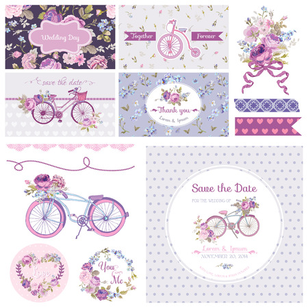 scrapbook frames scrapbook design elements wedding party flowers and bicycle theme