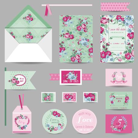 ウェディングステーショナリー - 日付、RSVP のぼろぼろのシックなバラの背景を持つ保存の招待カードのセット