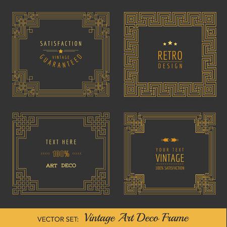 アールデコのビンテージ フレームおよびデザイン要素  イラスト・ベクター素材