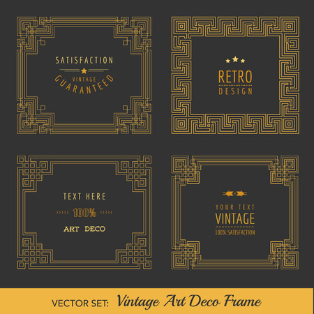 Art Deco Vintage Frames and Design Elements  Çizim