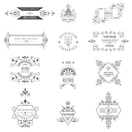 wedding  art: Art Deco Vintage Frames and Design Elements - in vector Illustration