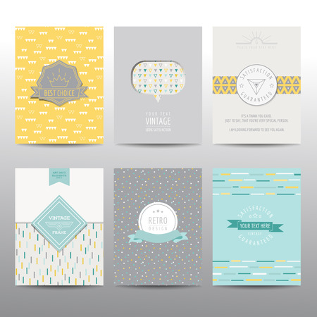 vintage wallpaper: Set of Geometric Brochures and Cards - vintage layouts - in vector Illustration