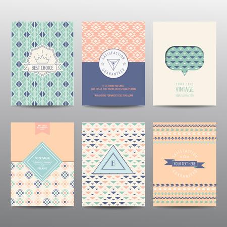 ベクトルの幾何学的なパンフレットやカード - ビンテージ レイアウト - のセット