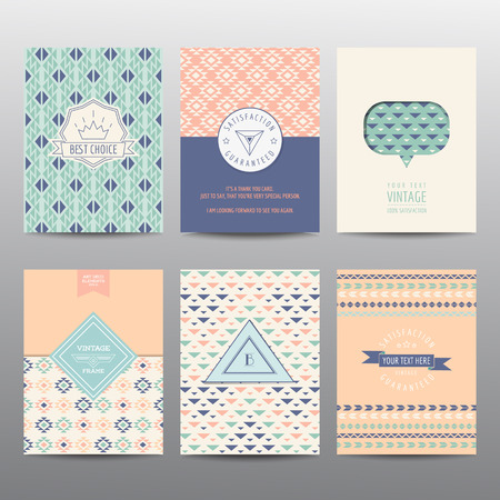 color pages: Set of Geometric Brochures and Cards - vintage layouts - in vector Illustration