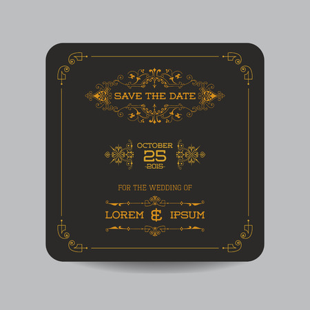 invitation background: Save the Date - Wedding Invitation Card - Art Deco Vintage Style - in vector