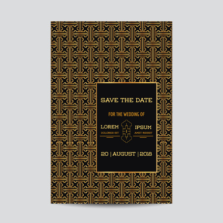 art deco: Save the Date - Wedding Invitation Card - Art Deco Vintage Style - in vector