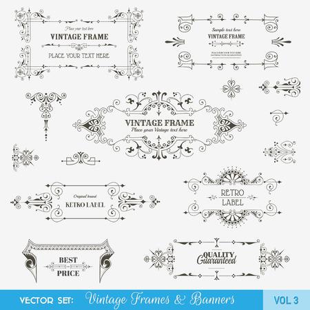 border vintage: Vector Set: Vintage Frames and Banners, Calligraphic Design Elements and Page Decorations Illustration
