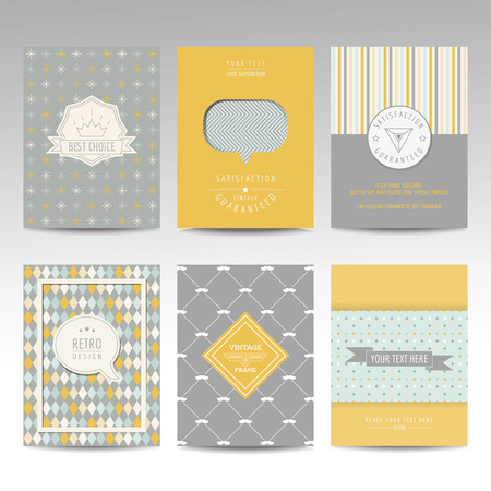 Set of Geometric Brochures and Cards - vintage layouts - in vector Çizim