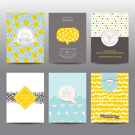Set of Geometric Brochures and Cards - vintage layouts - in vector Illustration