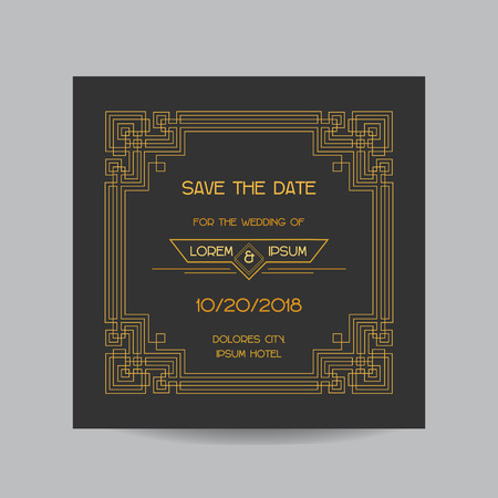 art deco background: Save the Date - Wedding Invitation Card - Art Deco Vintage Style - in vector