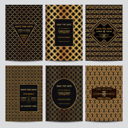 arte moderno: Conjunto de la invitaci�n de la boda tarjetas - Ahorre la fecha - Art Deco Estilo Vintage - en vector
