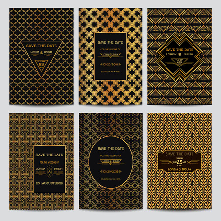 Set of Wedding Invitation Cards - Save the Date - Art Deco Vintage Style - in vector
