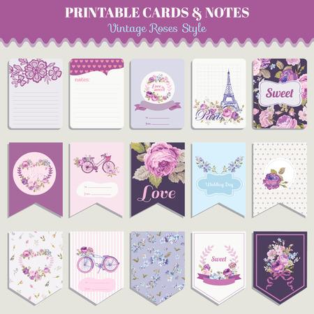 ślub: Vintage Kwiaty zestaw kart - na urodziny, wesela, chrzciny, imprezy, projektowania - w wektorze