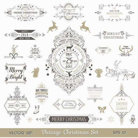 Natale Elementi di design calligrafici e Decorazione Page, Vintage Frames - vector set