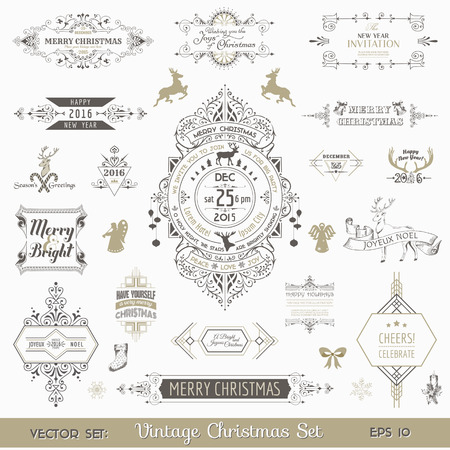 Christmas Calligraphic Design Elements and Page Decoration, Vintage Frames - vector set