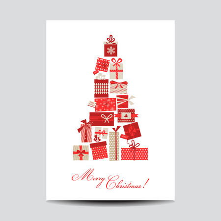 christmas gifts: Vintage Christmas Card - Christmas Tree from Gifts - in vector