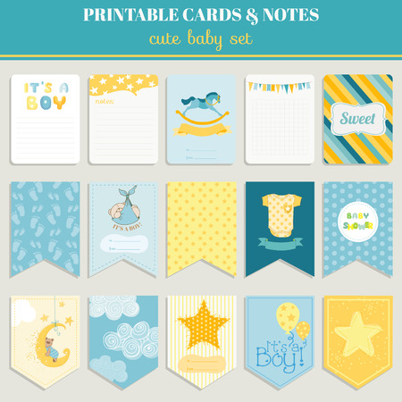 baby shower party: Baby Boy Card Set - for birthday, baby shower, party, design - in vector