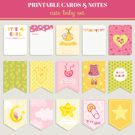 cute baby girl: Baby Girl Card Set - for birthday, baby shower, party, design - in vector Illustration