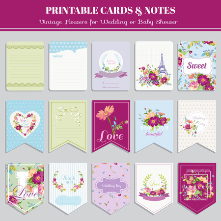 Vintage Flowers Card Set - for birthday, wedding, baby shower, party, design - in vector