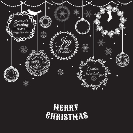 christmas winter: Vintage Christmas Card - for design and scrapbook - in vector Illustration