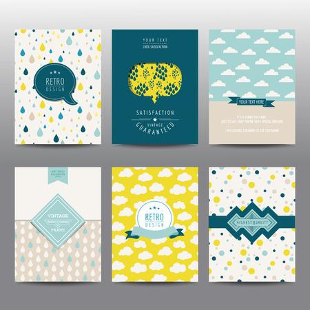 ベクトルの幾何学的なパンフレットやカード - ビンテージ レイアウト - のセット 写真素材 - 44497821