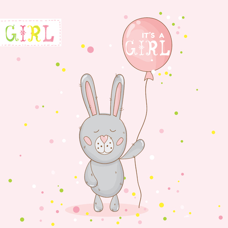 Baby Shower or Arrival Card - with Baby Bunny - in vector Vector Illustration