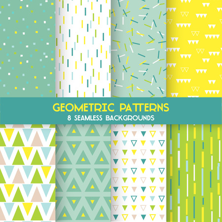 patterns vector: 8 Seamless Geometric Patterns - Texture for wallpaper, background, textile, scrapbook - in vector