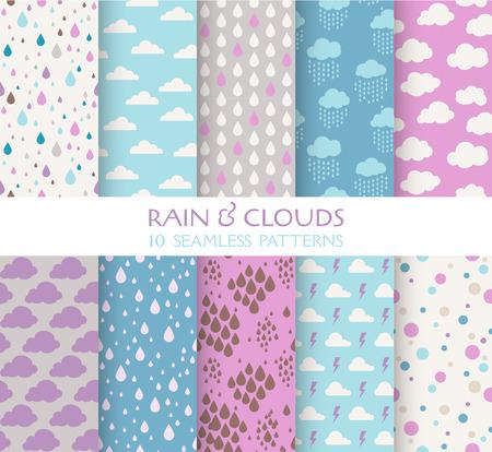 10 のシームレスなパターン - 雨と雲 - 壁紙、背景、テクスチャ、スクラップ ブックのためのテクスチャ - ベクトル