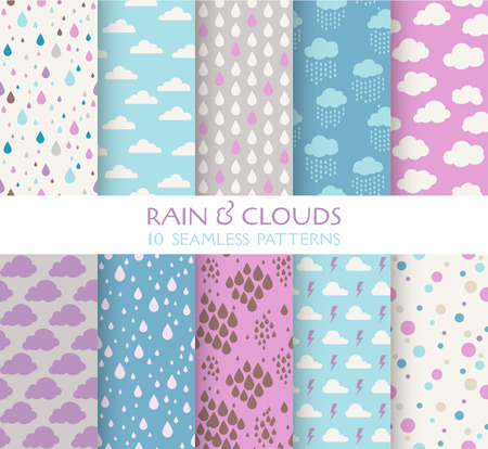 seamless sky: 10 Seamless Patterns - Rain and Clouds - Texture for wallpaper, background, texture, scrapbook - in vector