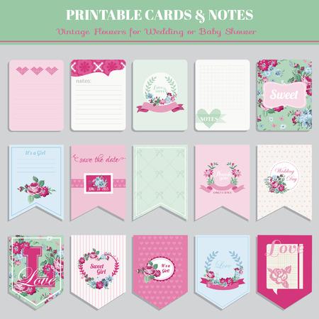 ferraille: Vintage Fleurs Card Set - pour l'anniversaire, mariage, baby shower, fête, conception - dans le vecteur