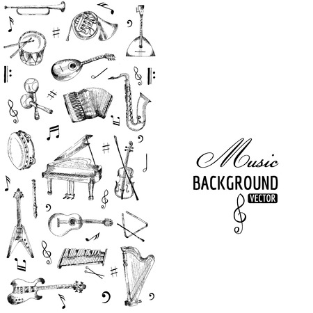 hand set: Music Instruments Background - hand drawn - vector
