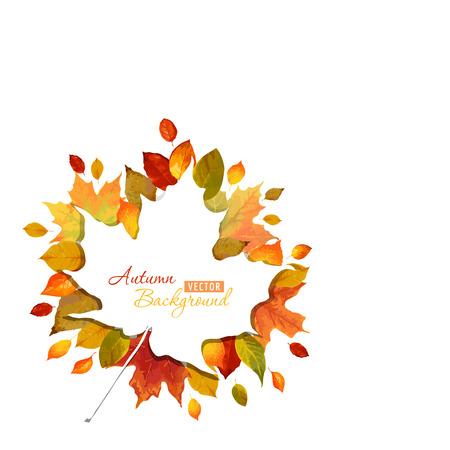 カラフルな秋葉背景 - ベクトル - 水彩風