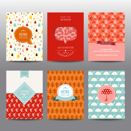 umbrella rain: Set of Autumn Brochures and Cards - vintage layouts - in vector