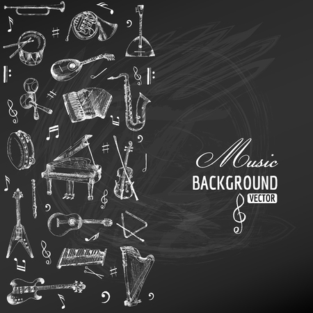music: Music Instruments Background - hand drawn on chalkboard - vector Illustration