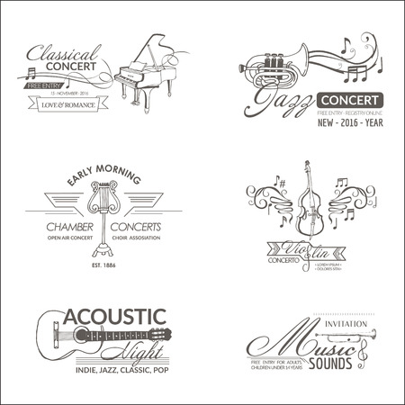 instrumentos de musica: Música e Instrumentos - Etiquetas, escudos, Identidad, Logotipos - vector