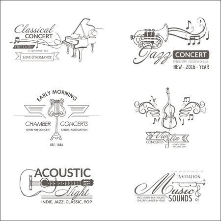 Muzyka i Instrumenty - etykiety, odznaki, Tożsamość, Logotypy - wektor